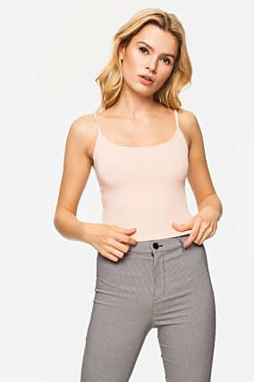 Crop Top Rose Côtelé