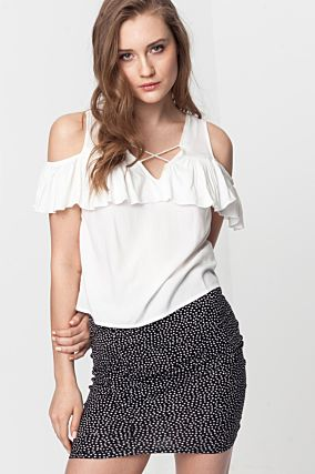 White Bare Shoulder Top