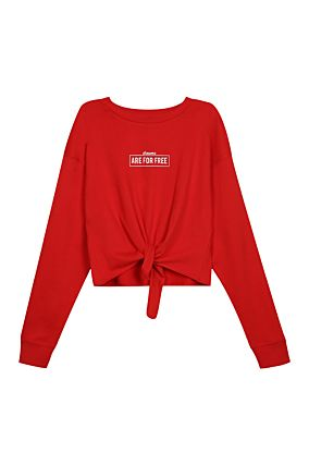 Red Sweatshirt with Knot Front