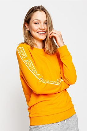 Orange Slogan Sweatshirt