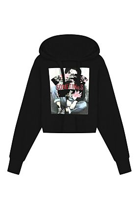 Black Sweatshirt with Sometimes Slogan