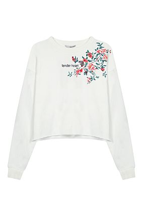 White Sweatshirt with Floral Prints