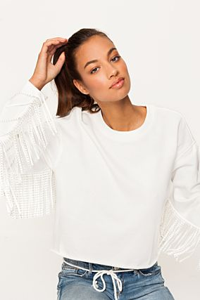 White Fringed Sweatshirt