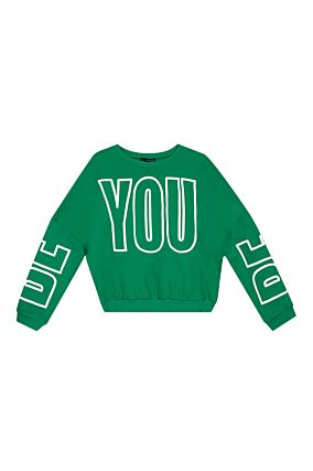 Green Sweatshirt with Slogan