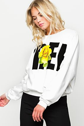 White Sweatshirt with Print
