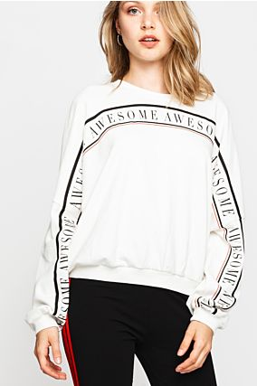 "White ""Awesome"" Sweatshirt"