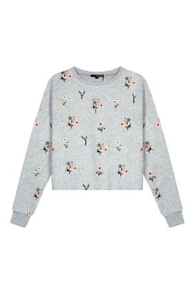 Grey Floral Embroidered Sweatshirt