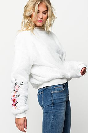 White Fluffy Embroidered Sweatshirt