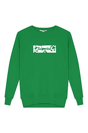 Green Sweatshirt with Superbe Slogan