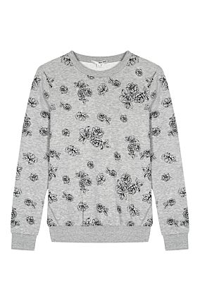 Grey Sweatshirt with Flower Prints