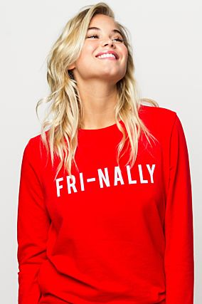 Red Sweatshirt with Slogan