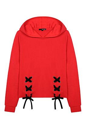 Red Sweatshirt with Tie Details