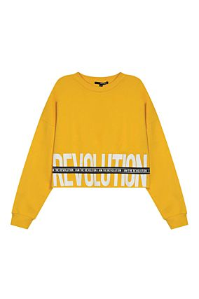 Yellow Sweatshirt with Slogan