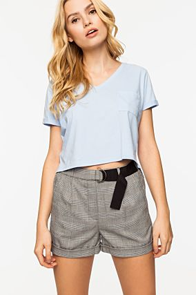Hellblaues Crop-Top