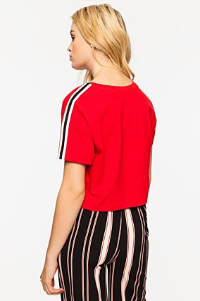 Red Top with Side Stripe