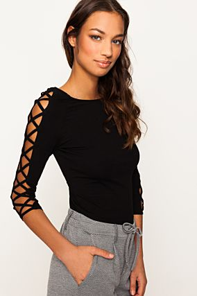 Black Crossed Sleeves Top