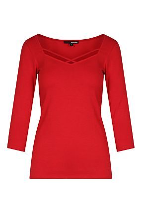 Red Basic 3/4 Sleeved Top
