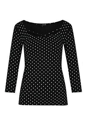 Black  Polka Dots Top