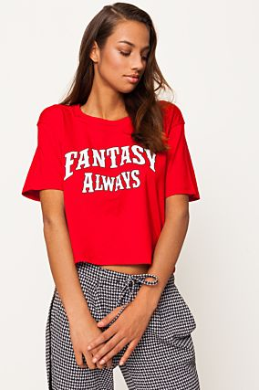 Red Boxy Crop Top
