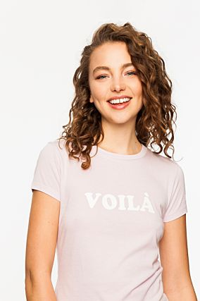 "Pink T-Shirt with ""Voilà"" Slogan"