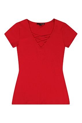 T-shirt Rossa con Incrocio
