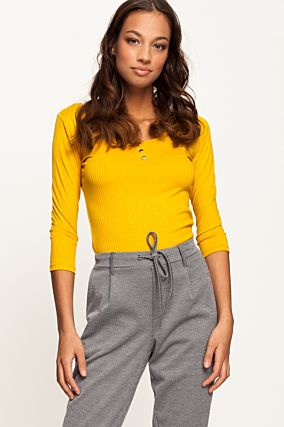 Yellow Ribbed Butonned Top