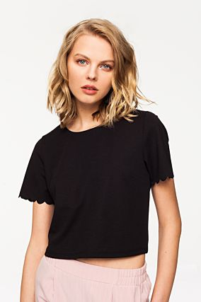 Black Scallop Top
