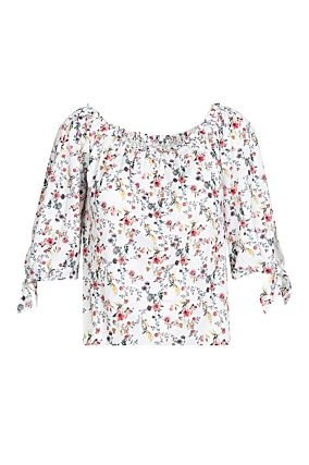 White Floral Off Shoulders Top
