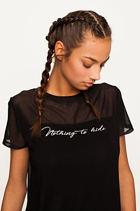 Black Top with Slogan