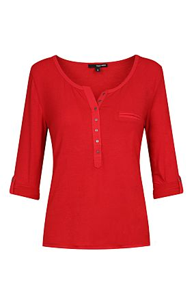Red Roll Up Sleeves Top