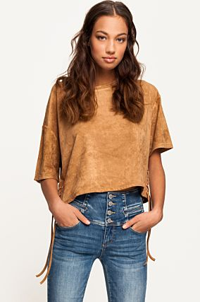 Beige Suedette Crop Top