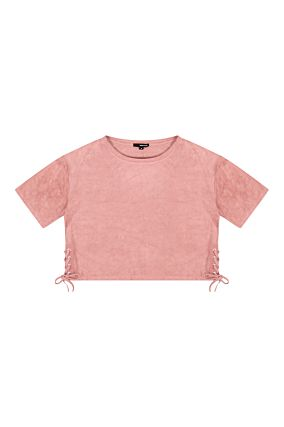 Pink Suedette Crop Top