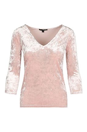T-shirt Manches 3/4 en Velours Rose