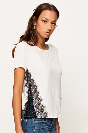 White Loose  Top with Lace