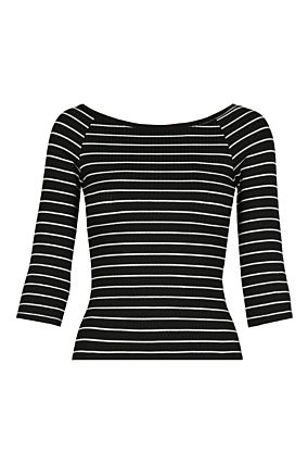 Black Striped Fitted Top