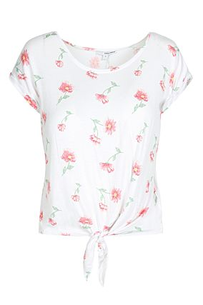 White Floral Top with Knot Front