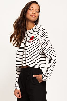 Black and White Long Sleeved Crop Top