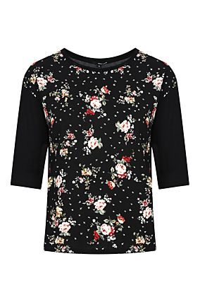 Black Floral 3/4 Sleeves Top