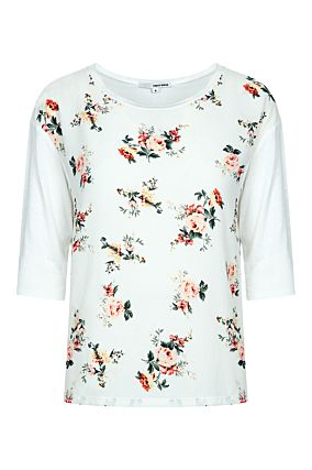 White Floral 3/4 Sleeves Top