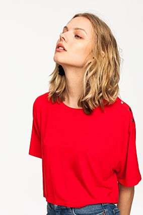 Red Top with Button Detail
