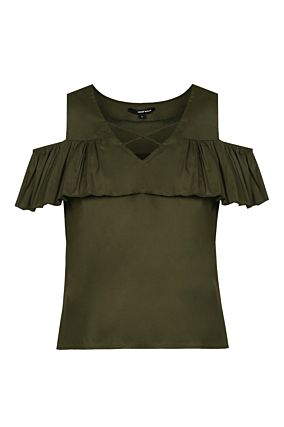 Khaki Bare Shoulder Top