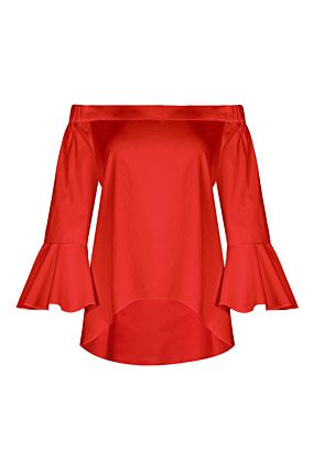 Red Top with Bell Sleeves