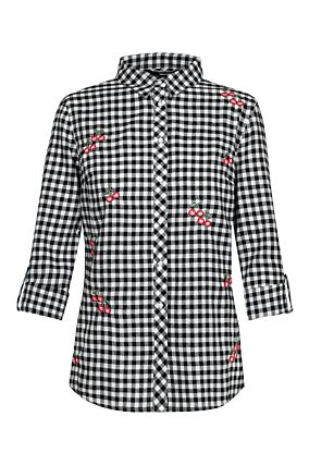 Black Gingham Shirt with Cherry Embroidery