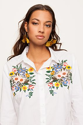 White Shirt with Floral Embroideries