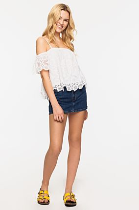 White Cold Shoulders Top
