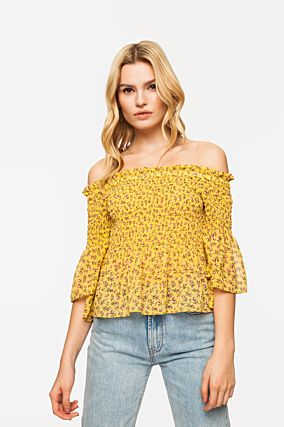 Yellow Off Shoulder Blouse
