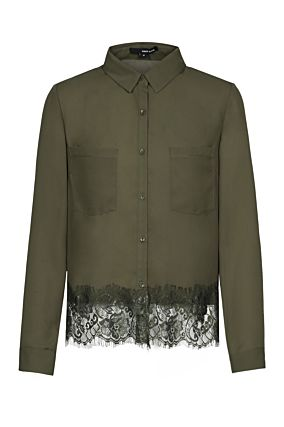 Khaki Shirt with Lace