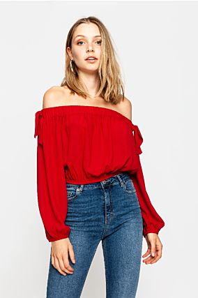 Red Cropped Blouse