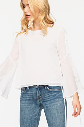 White Blouse with Open Sleeves