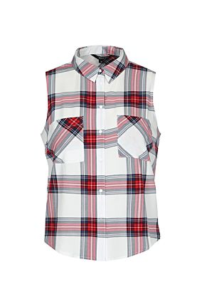 White Check Sleeveless Shirt